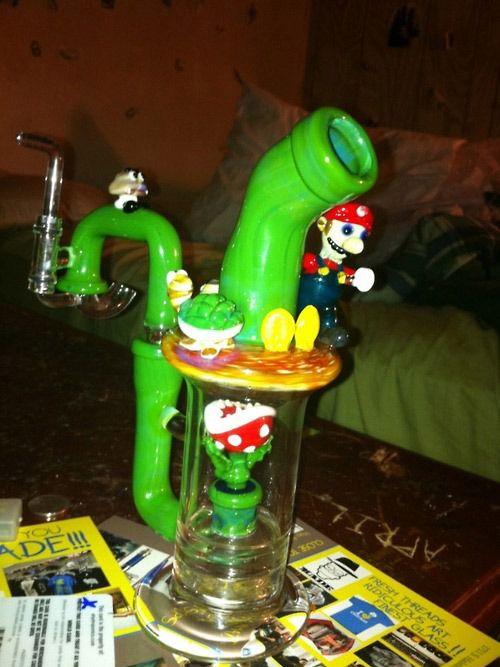 cannabis weed 420 stoner pot ganja marijuana super mario bong art
