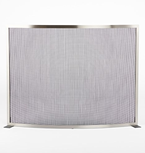 Modernist Curved Fireplace Screen Brushed Nickel E0926 Fireplace