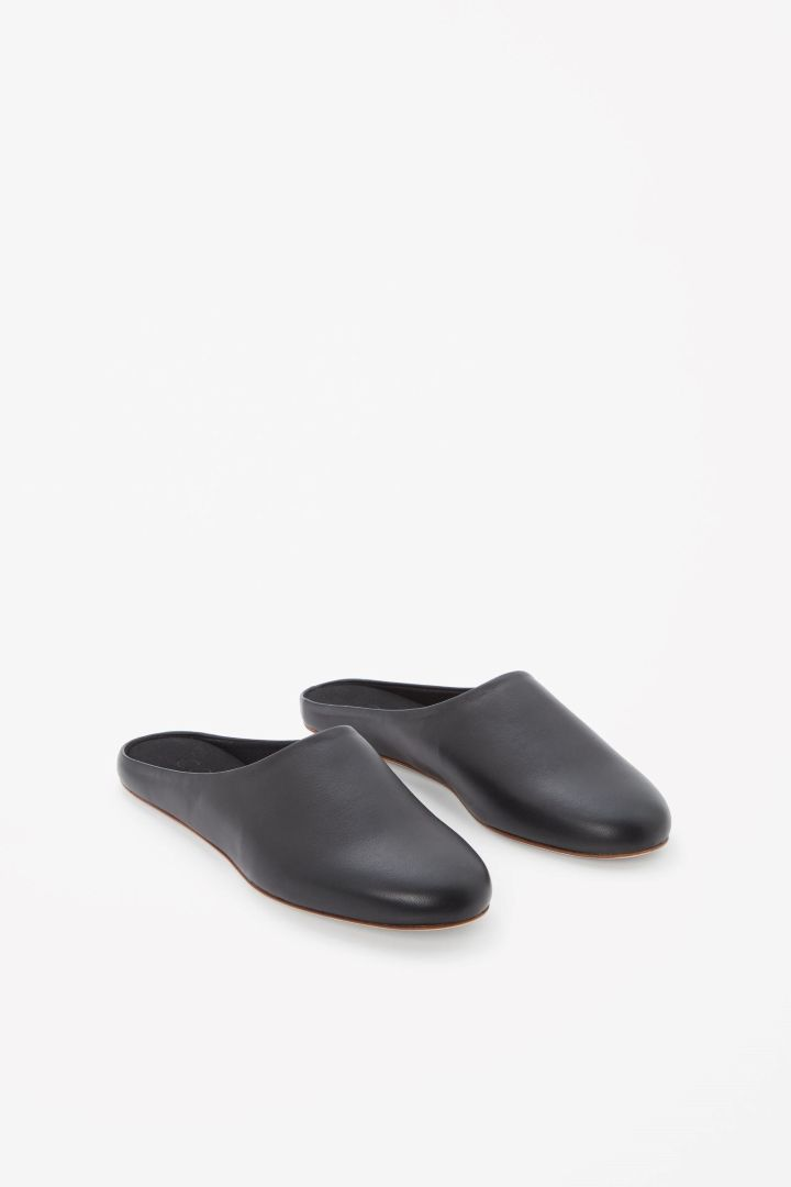 bc1c3666c COS image 2 of Leather slippers in Black Flats