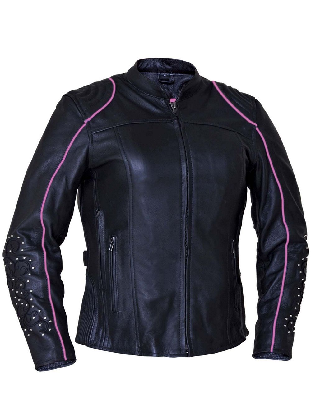 Womens Premium Soft Cowhide Leather Motorcycle Jacket W