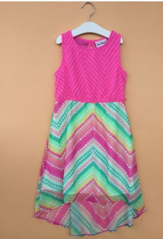 "Chevron Print ""MIA"" Hi Lo Dress"