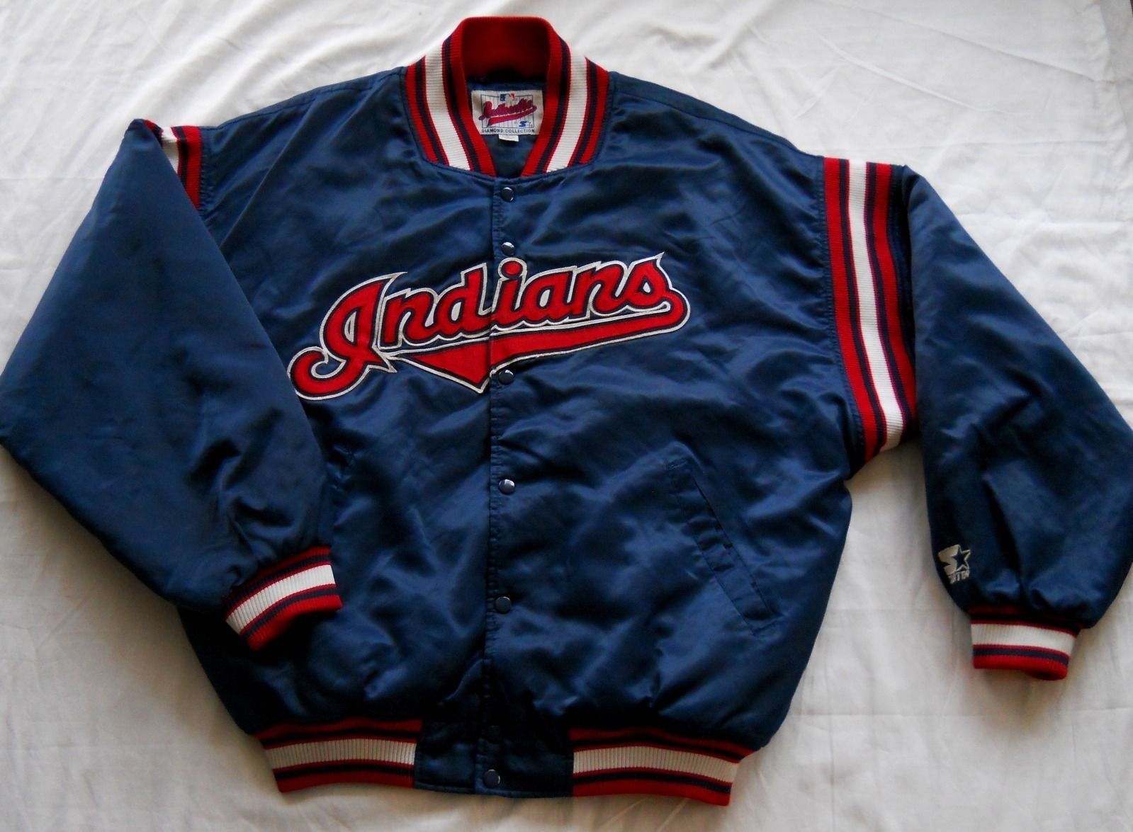 cae0ed3cdf5be Cleveland Indians Starter Jacket Vintage MLB Diamond Collection Dugout  Large