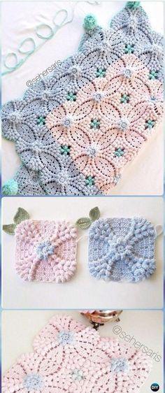 Crochet Pearl Flower Popcorn Square Motif Free Patterns [Vide ...