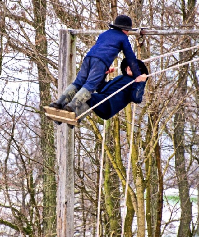 Amish boys on swing. Detail of photo from Eightlake