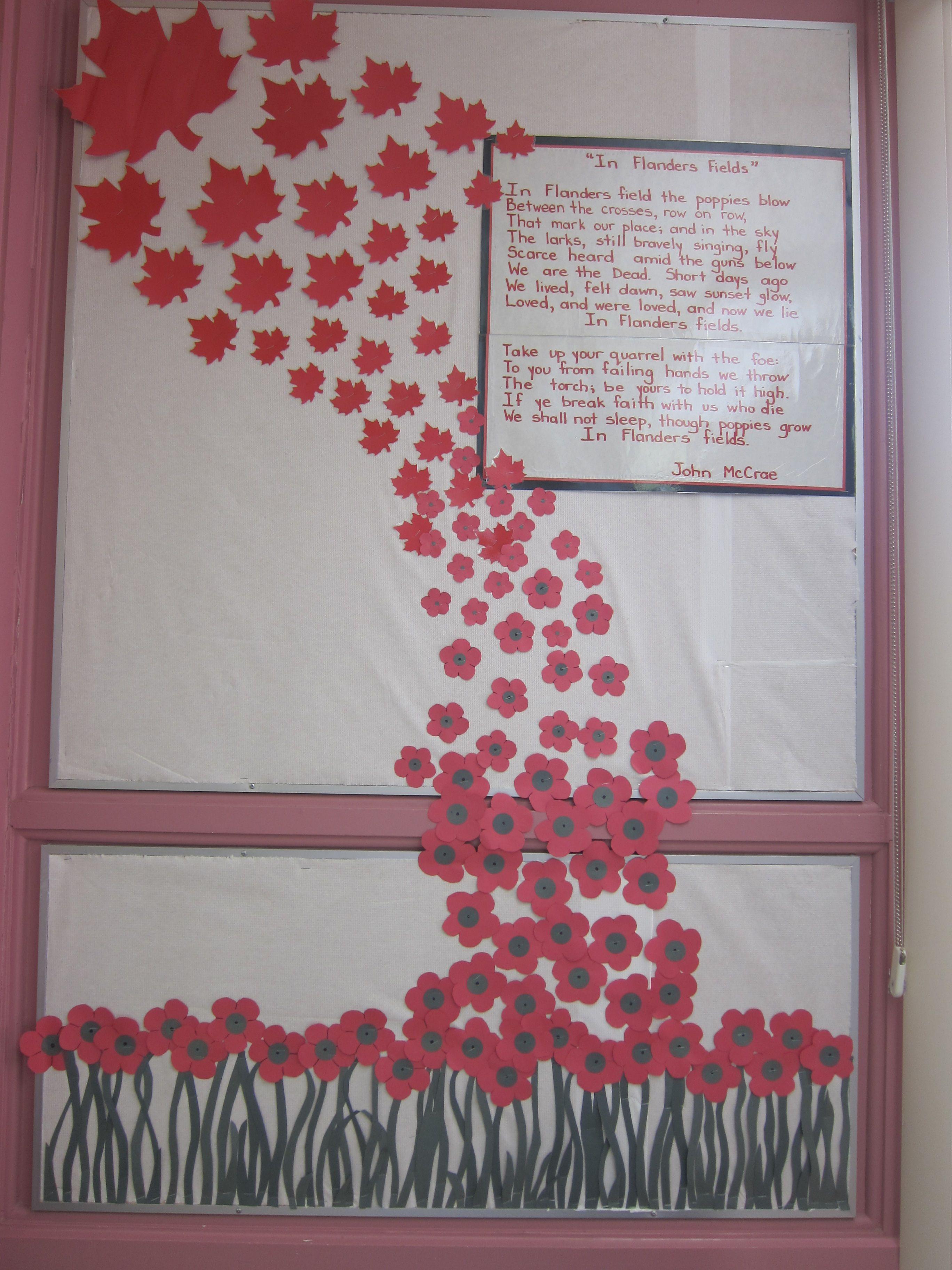 Remembrance Day Bulletin Board In Flander S Fields Remembrance Day Art Remembrance Day Activities Remembrance Day Poppy