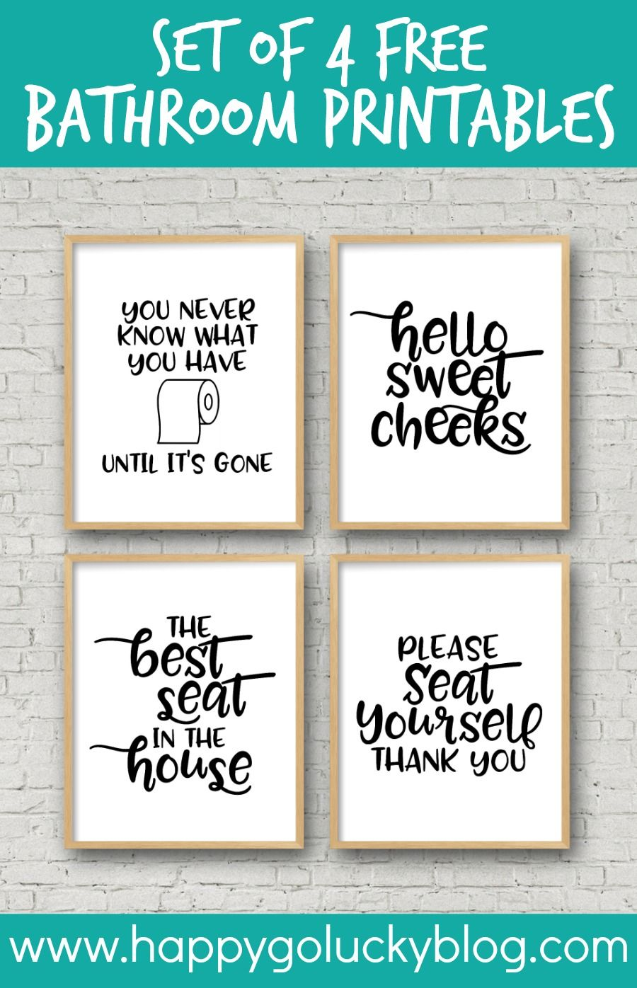 set of 4 printable bathroom signs | crafts-printables | pinterest