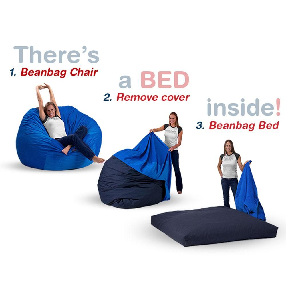 Queen Size Bean Bag Chair Bed In Royal Blue Corduroy For
