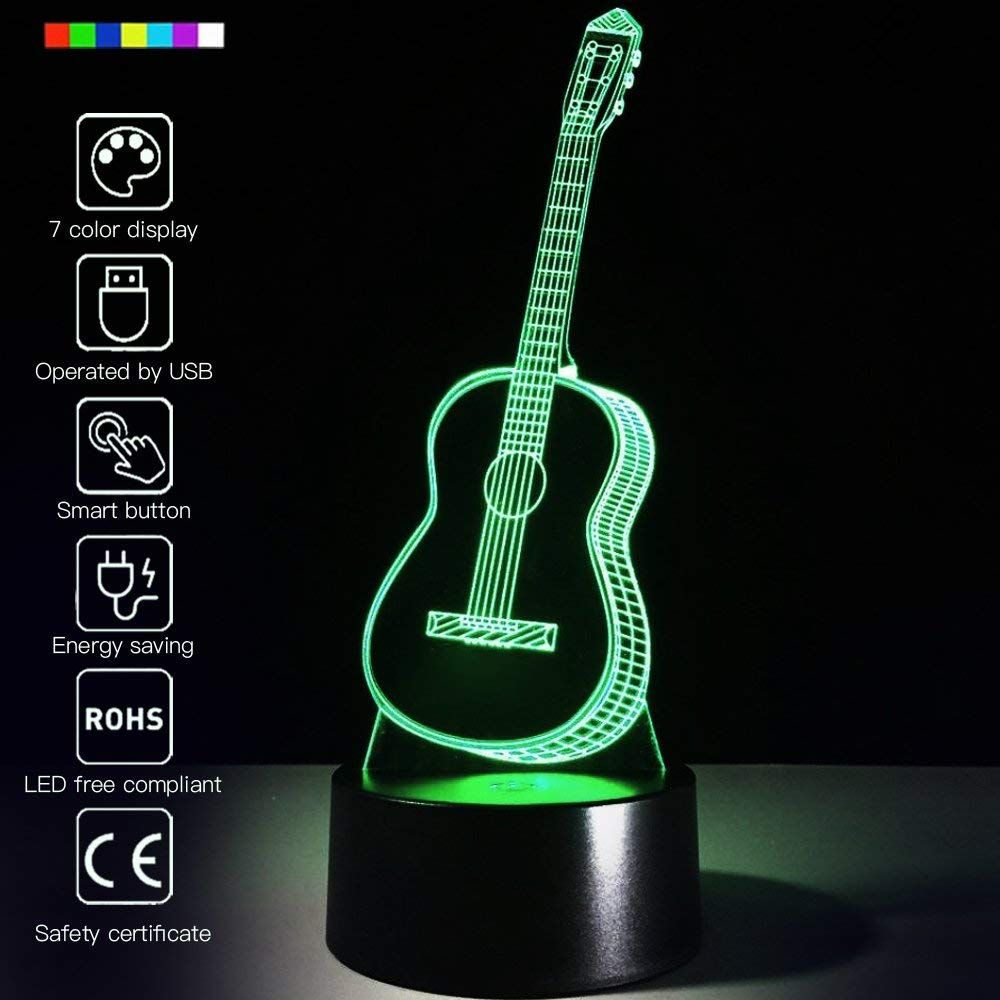 3d Guitar Light Color Optical Illusions Led Night Light Guitar Gifts