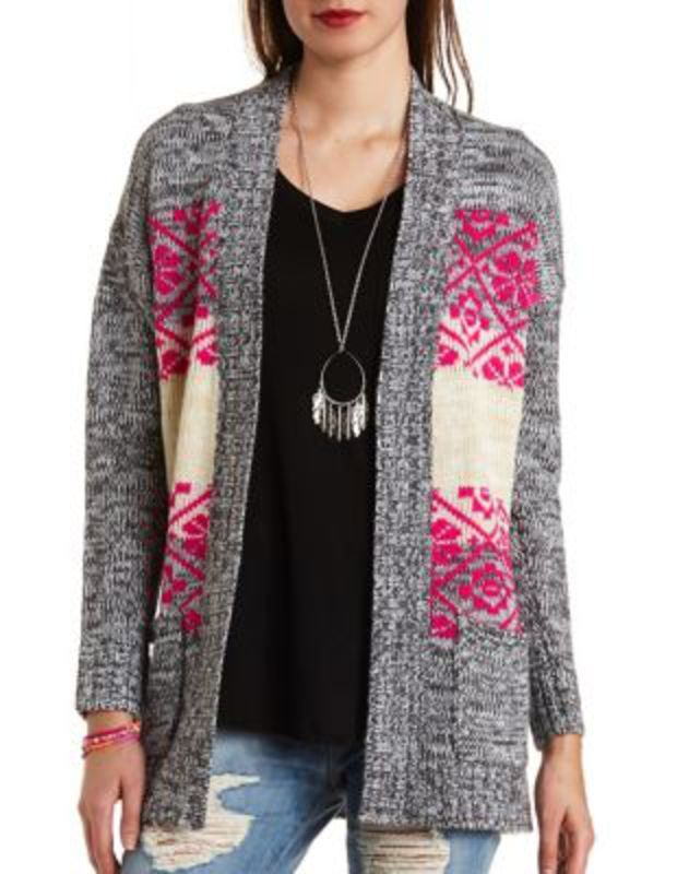 9e30365bf5 Striped Tribal Print Marled Cardigan · Tribal PrintsCute ClothesSweater  WeatherCharlotte RusseBody ...