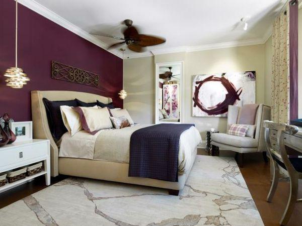 Purple And Beige Bedroom