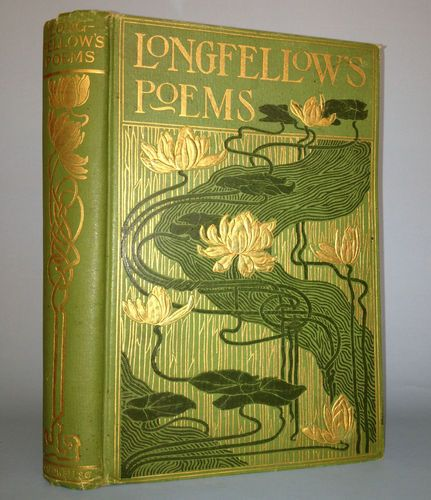 Beautiful Poetry Book Covers : Longfellow poems fine binding illustrated rare