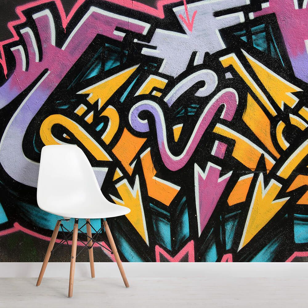 Our Twisted Arrows Graffiti Wallpaper Mural displays beautiful contrasting purple, blue and yellow colours superbly well to bring you a mural that will transform those dull walls into something amazing. The Twisted Arrows Graffiti Wallpaper Mural will match perfectly any colour scheme or interior design ideas that you might have as well as look absolutely stunning in any room of the home.
