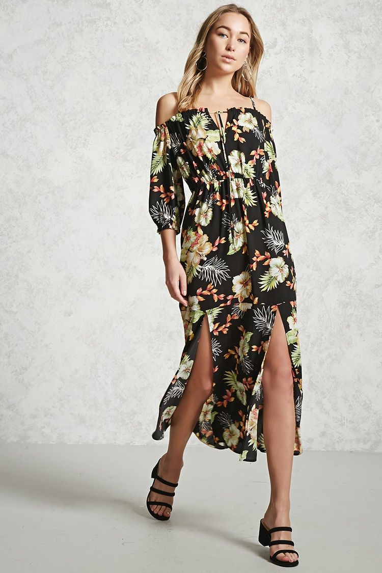 Contemporary mslit maxi dress fashion hair shoes u jewels