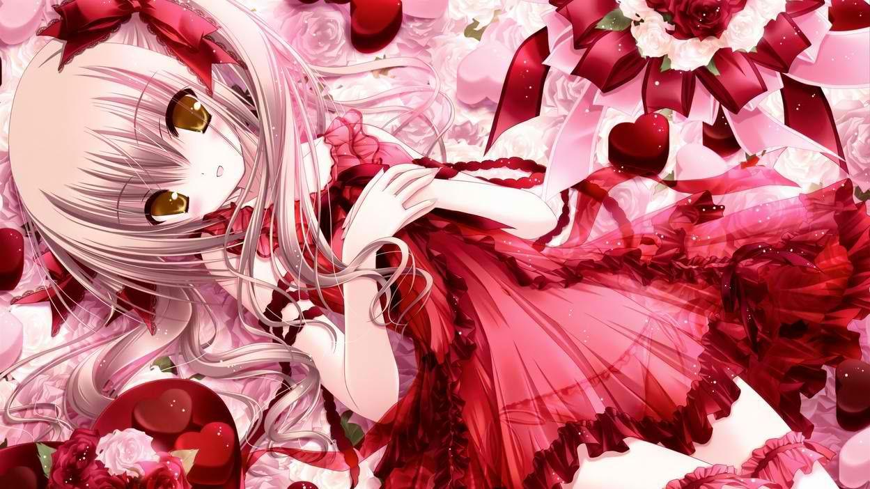 Anime Valentineus Day Happy Valentines Day Anime Girl Hearts