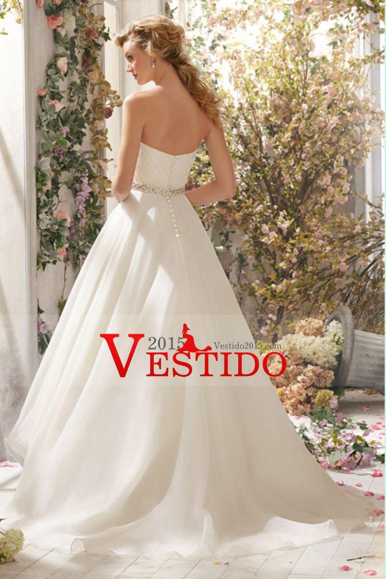 2014 cariño acanalada blusa Un vestido de boda con la Línea de Alta Baja Organza Falda con cuentas Cintura
