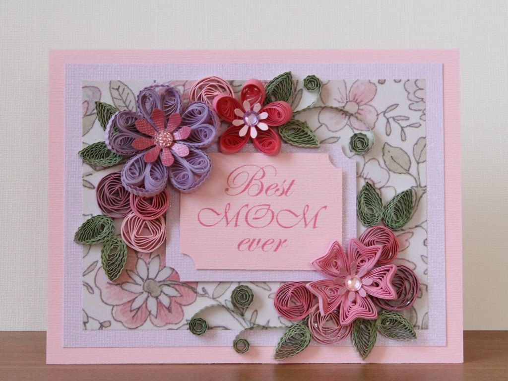 Handmade quilling greeting pink best mom ever card with quilled handmade quilling greeting pink best mom ever card with quilled roses mothers day kristyandbryce Images