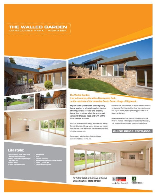 full page estate agent advert for contemporary new home in devon - New Home Magazines