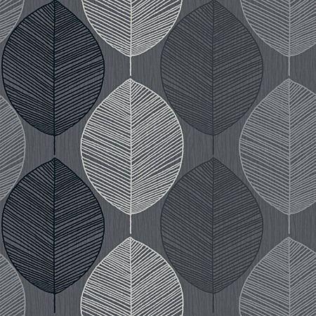 Arthouse Wallpaper Opera Retro Leaf Black Wallpaper Range
