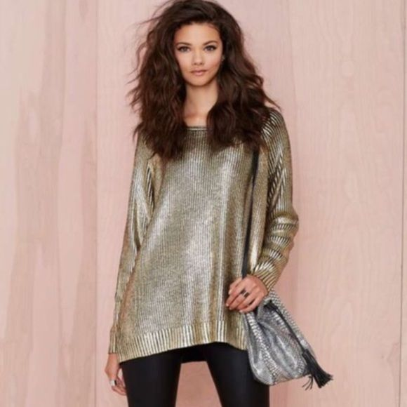 """NEW Nasty Gal Oversized Gold Sweater Purchased and it was too big on me. I'm 5""""1 so this would look awesome on a tall gal. Very stylish and super soft sweater! Please see third image for small part of gold that fell off. It is not noticeable when you wear it though because the gold gleams! I would keep if it fit me well. Nasty Gal Sweaters Crew & Scoop Necks"""