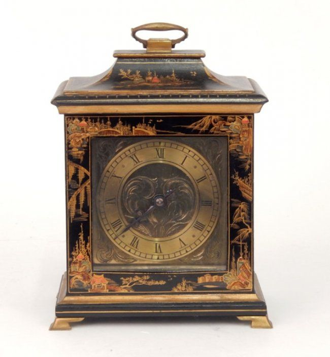 French table clock in Chinoiserie case : Lot 50