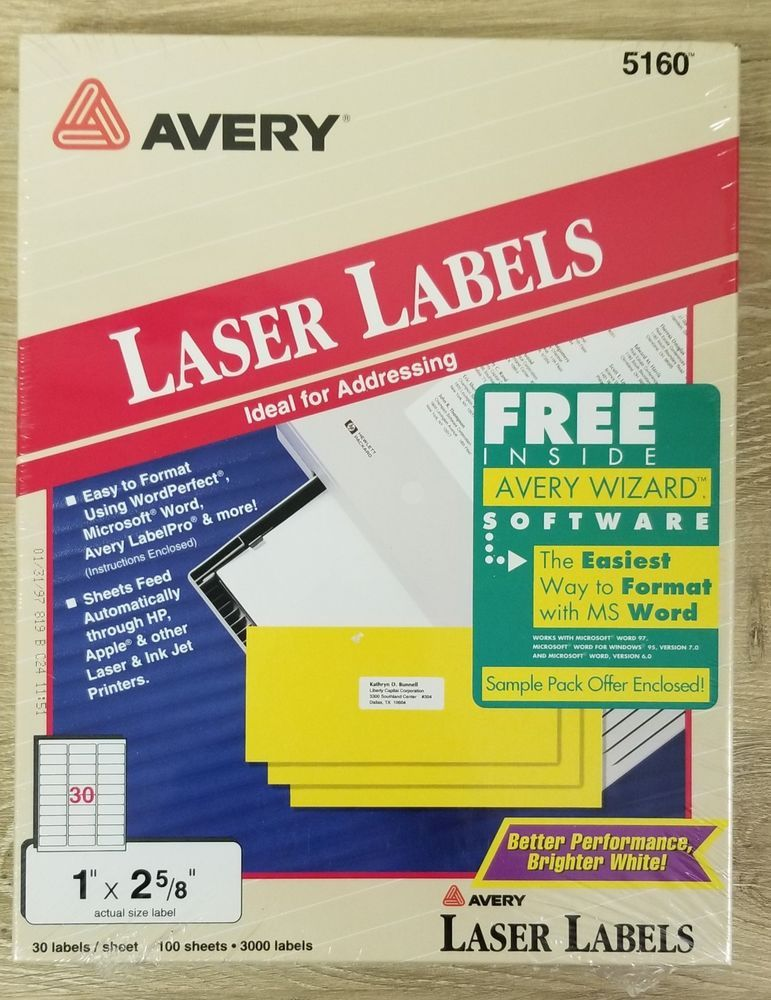 Avery laser labels 5160 30 Labels Per Sheet /100 sheets 3000