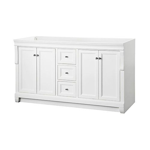 The Naples 60In. vanity in a brilliant painted white finish will slip easily into any décor. With 4 soft-close doors and 3 slow close drawers, it provides ample storage. With a full line of coordinating products completing your bathroom will be easy.Accommodates a standard double-sink vanity top (not included)