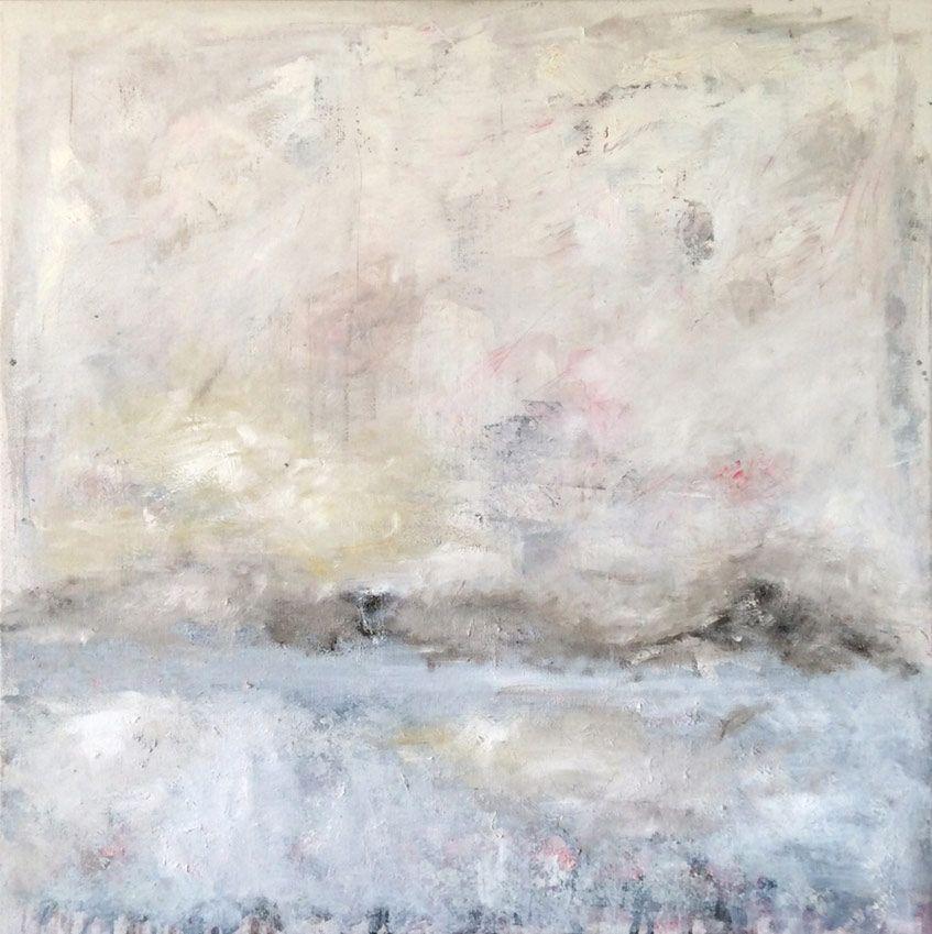 alpine Landschaft, Öl auf Leinwand, 90 x 90 cm