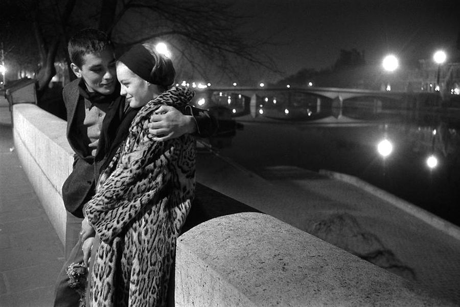 Alain Delon, Romy Schneider; along the Seine, Paris; 1961