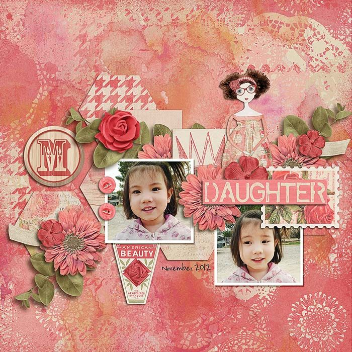 Daughter layout using: Being Jane kit by Krystal Hartley​ http://www.sweetshoppedesigns.com/sweetshoppe/product.php?productid=25234&cat=0&page=1 Little Green Frog Designs template (retired)