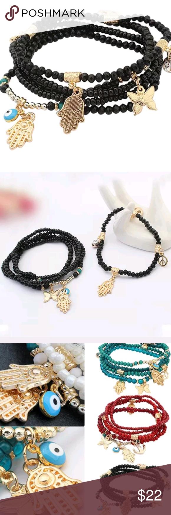 Hamsa Hand Eye Butterfly Black Multilayer Bracelet