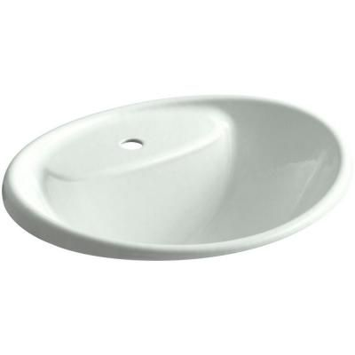 Kohler Tides Drop In Cast Iron Bathroom Sink In Sea Salt With Overflow Drain Blue Drop In Bathroom Sinks Sink Bathroom