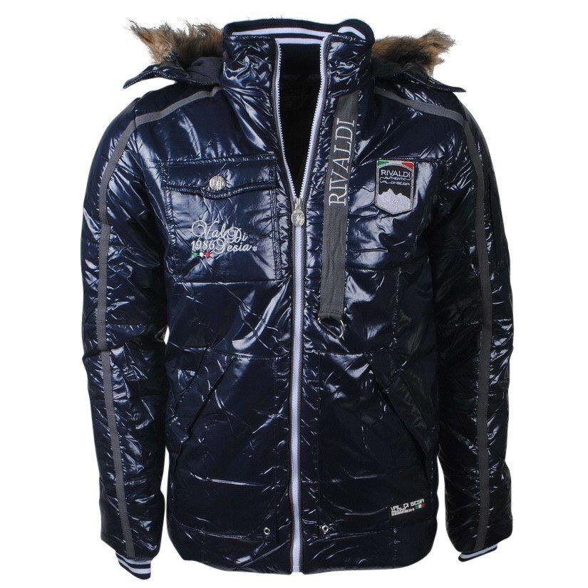 78ac1a5bd7a8ae Rivaldi RB7 Collection - Winterjacke mit Kapuze und Pelzkragen - Italian  Style - Baiano - Navy - Winter Jacken mit Fellkragen für Herren - Moda  Italia ...