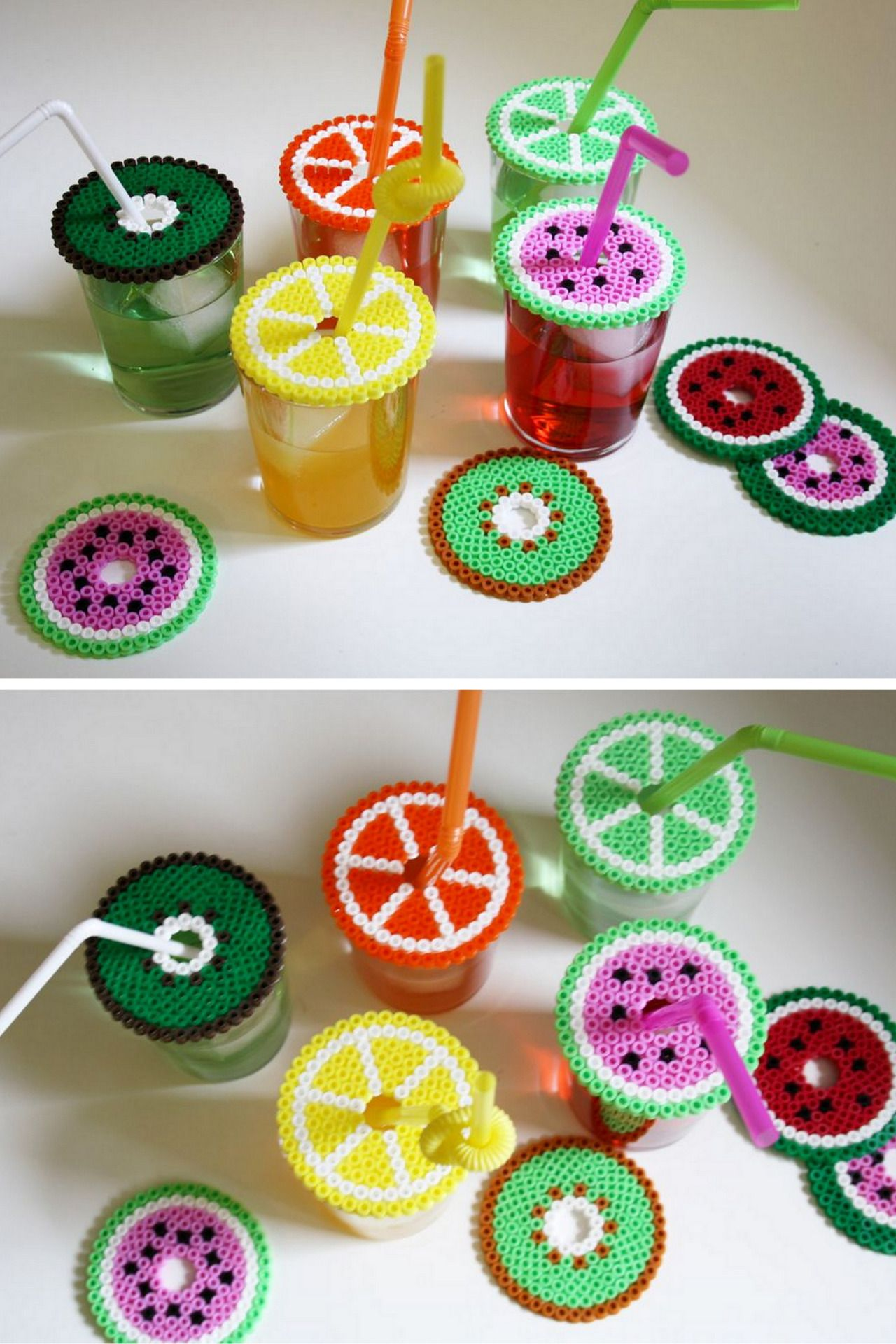 DIY Dual Duty Perler Beads Coasters or Drink Covers Tutorial from Loppi.These coasters/drink covers can be made out of Perler or Hama Beads - so they are very cheap and easy to make.For lots more Perler Bead DIYs go here.The video is not in English, but words really aren't necessary!