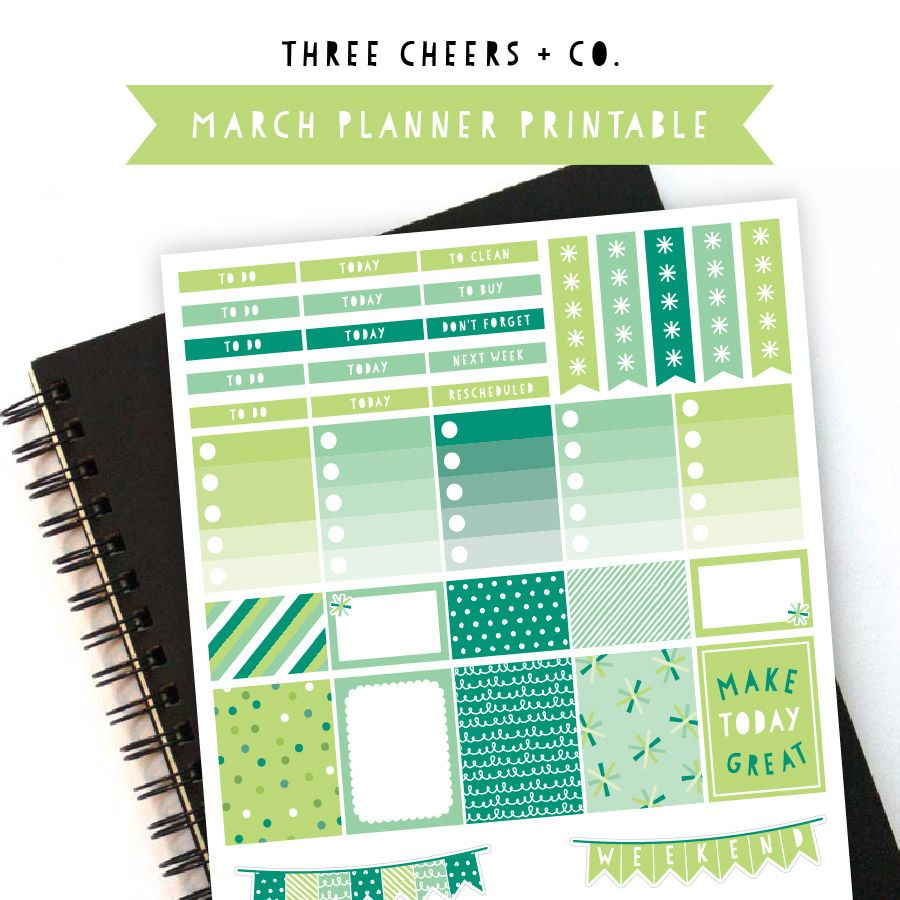 March Free Planner Printable - Three Cheers + Co. - Perfect for Erin Condren Vertical Planners