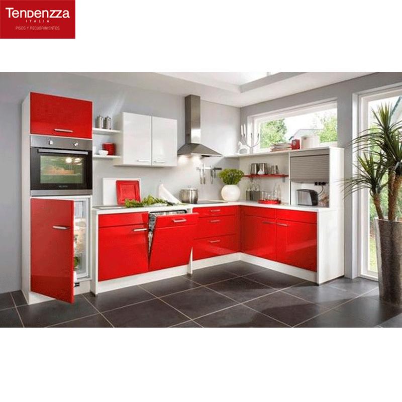 Contrasta tu cocina roja con un piso color cemento. Recrea este ...