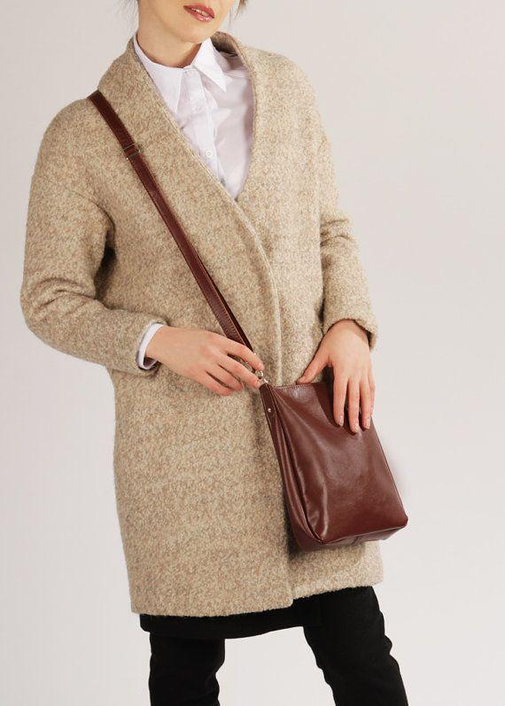 f5b387126a46 Brown Crossbody Bag with Zipper