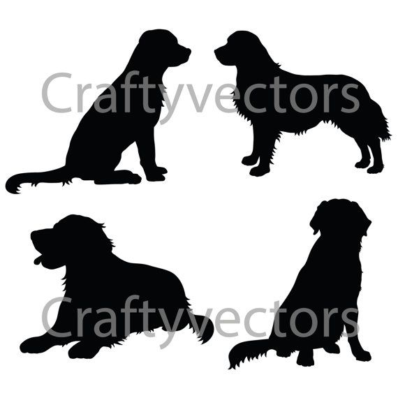 Golden Retriever Silhouettes Vector File Dogs Golden Retriever