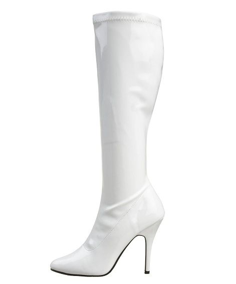white ladies boots | heel Cute cheap white stretch patent knee high boots for women under ...