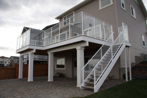 Large Two Story Dura Deck With 5 39 High Clear Glass And