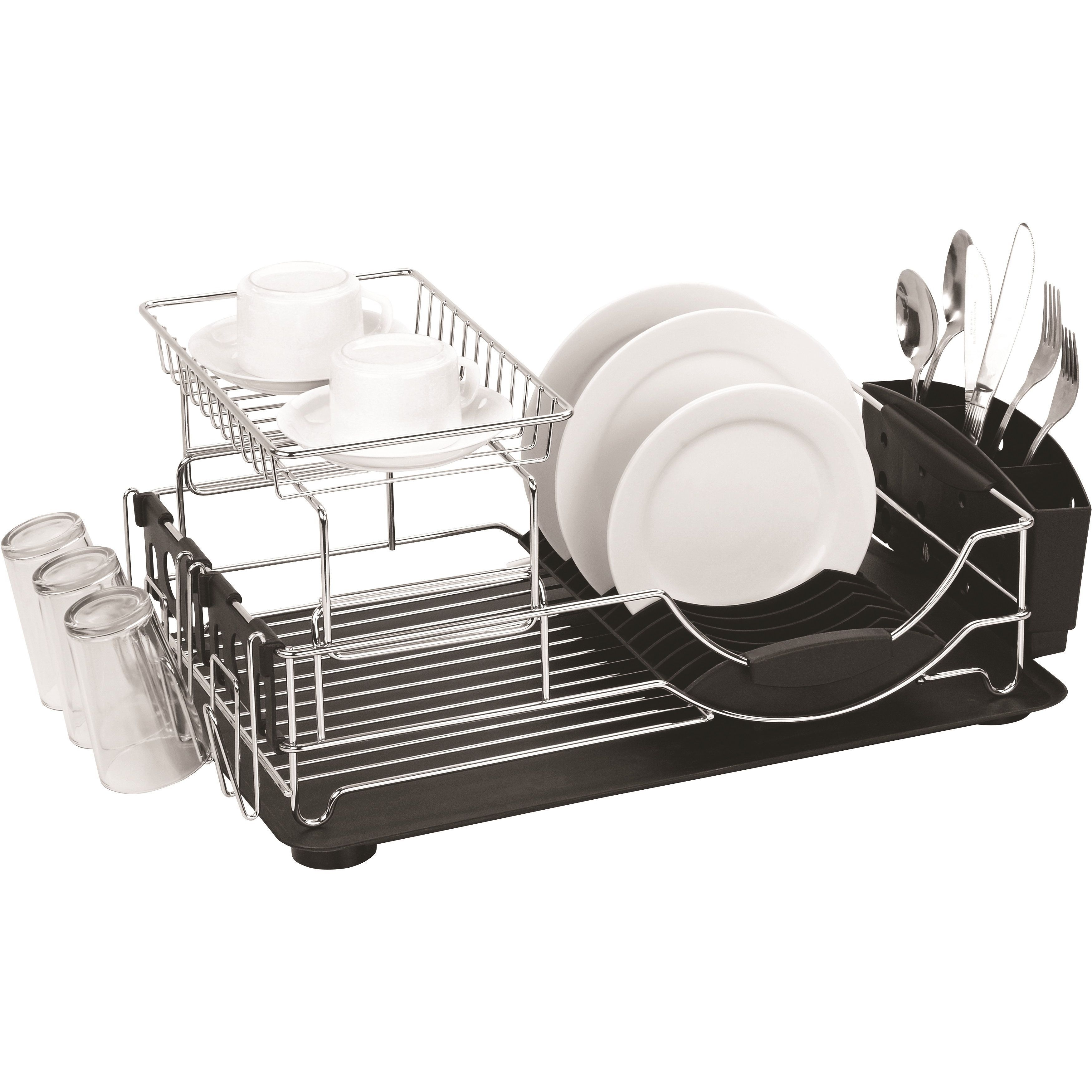 Home Basics 2 Tier Dish Rack Endearing Home Basics Deluxe 2Tier Dish Rack Drainer White Metal  Dish Inspiration