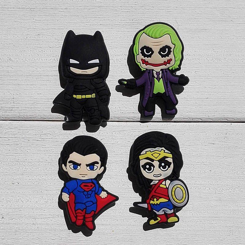e4fd18cb5 Mix 20pcs Batman Super man PVC shoe charms shoe accessories shoe buckle for  wristbands kids party
