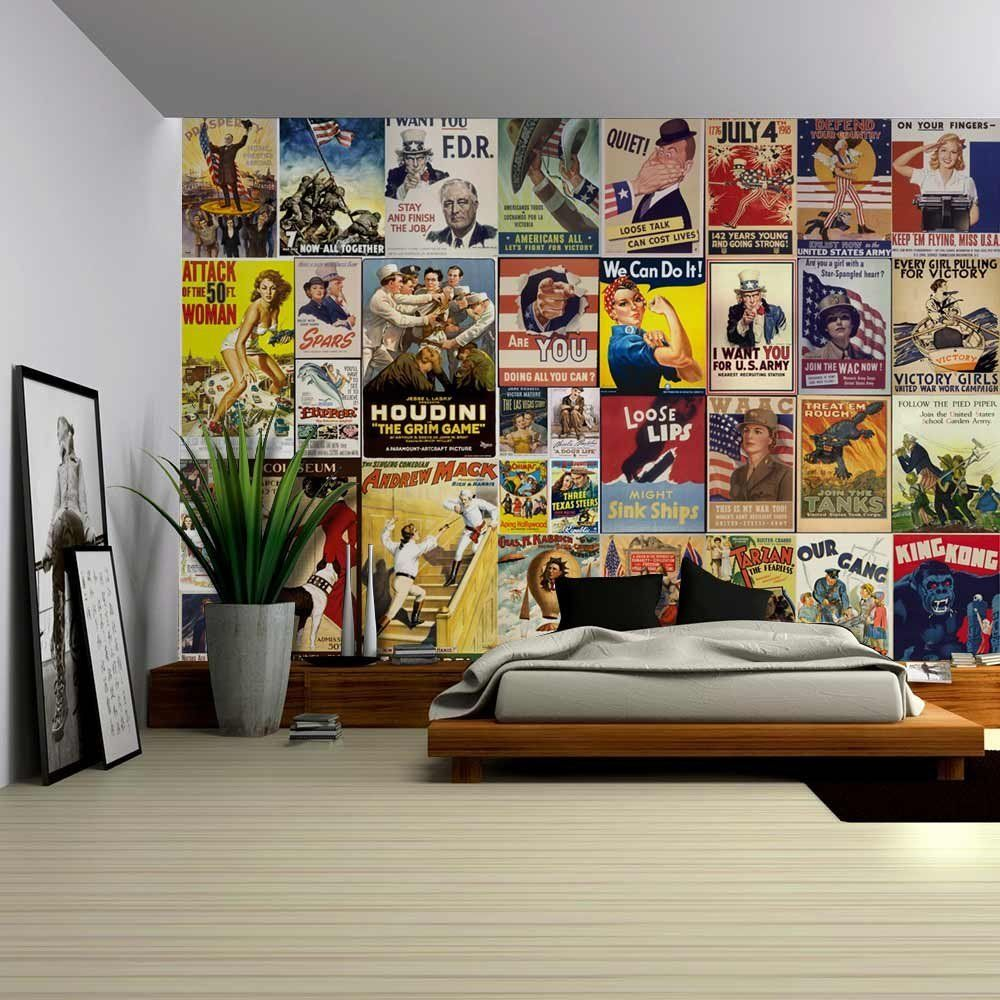 Peel And Stick Wallpapaer Collage With Vintage War Propaganda And Classic Movie Posters Removable Large Wal Large Wall Murals Wall Mural Decals Wall Murals