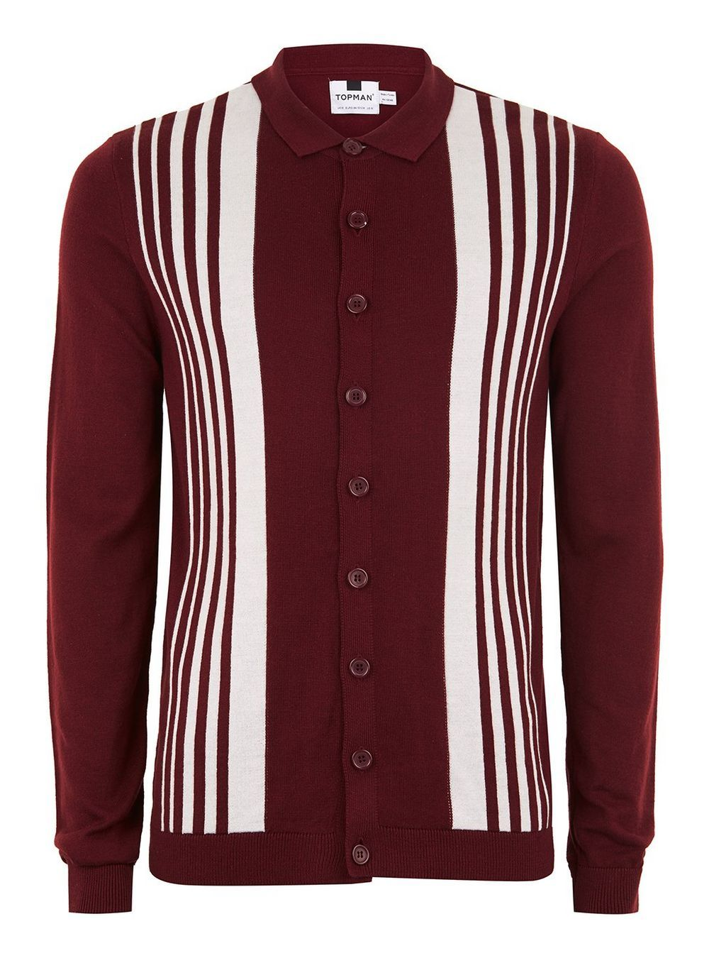 f7a5a700f Burgundy Button Down Knitted Polo - TOPMAN USA