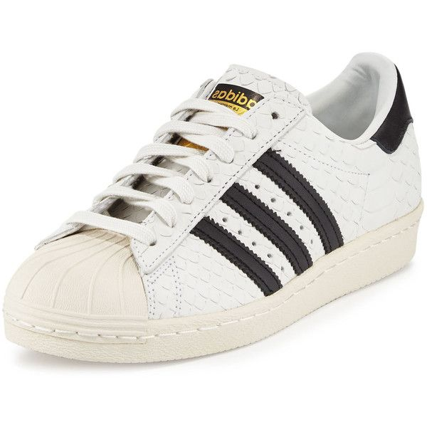 Adidas Superstar '80s Classic Snake-Cut Sneaker (347.510 COP) ❤ liked on Polyvore featuring shoes, sneakers, 80s sneakers, leather flats, adidas trainers, laced flats and lace up flat shoes