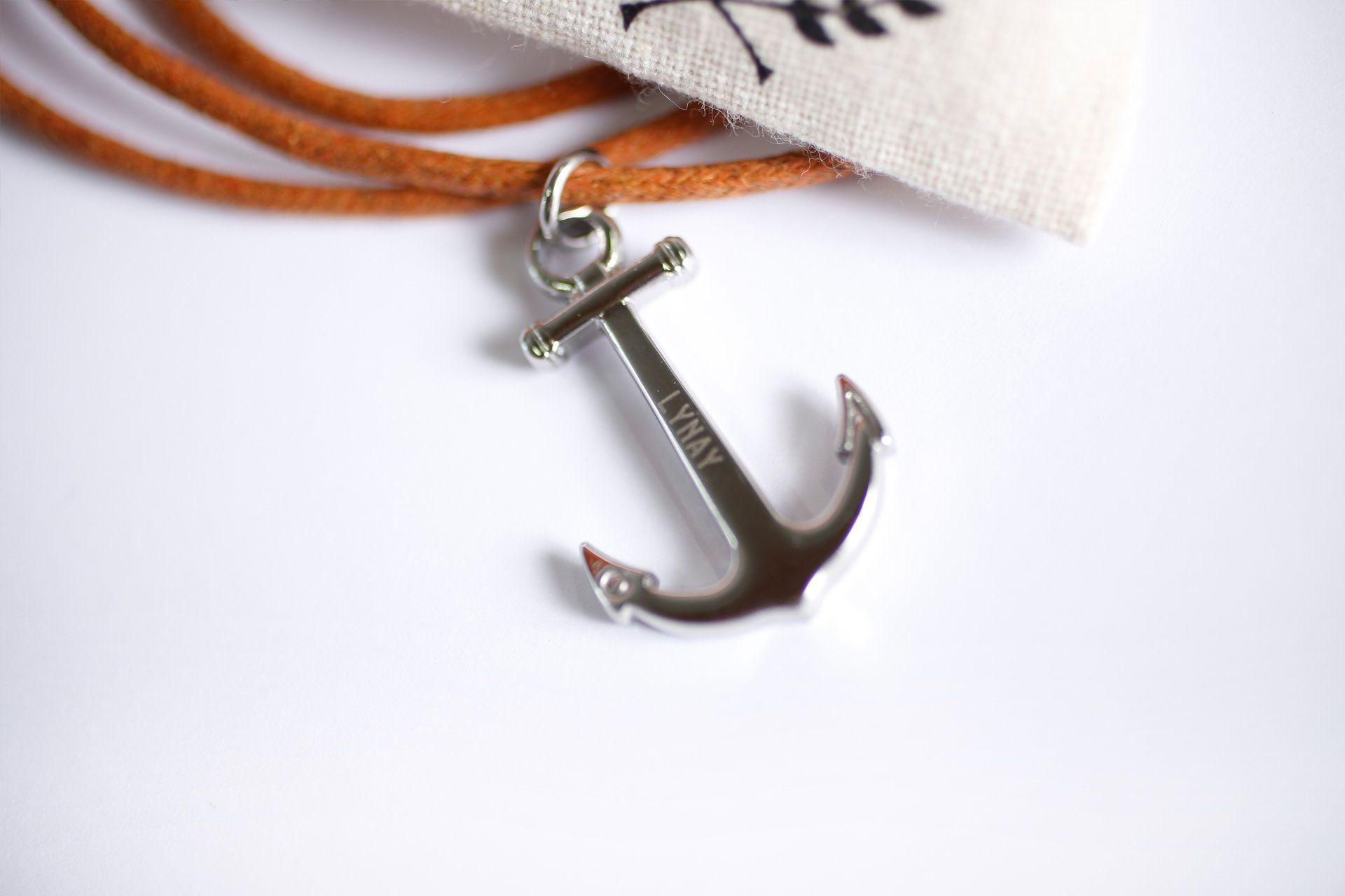 Anchor silver/brown Halskette