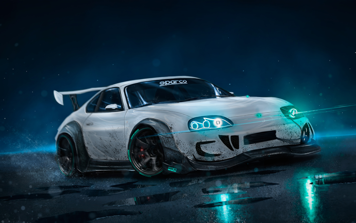 Download Wallpapers Toyota Supra Artwork Night Headlight Tuning White Supra Toyota Auto Carros Casal