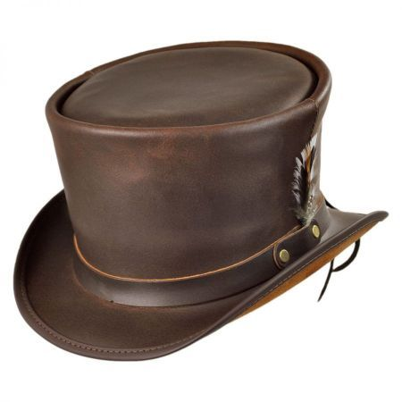1272ee16779 Coachman Brown Leather Top Hat in 2019 | want | Leather top hat ...