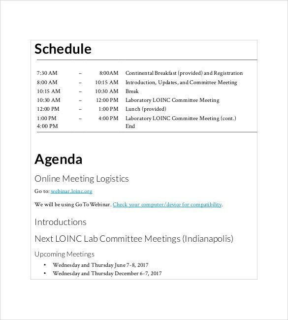 Agenda Meeting Template Word Prepossessing 20 Agenda Template  Free Printable Pdf Excel And Word Formats .