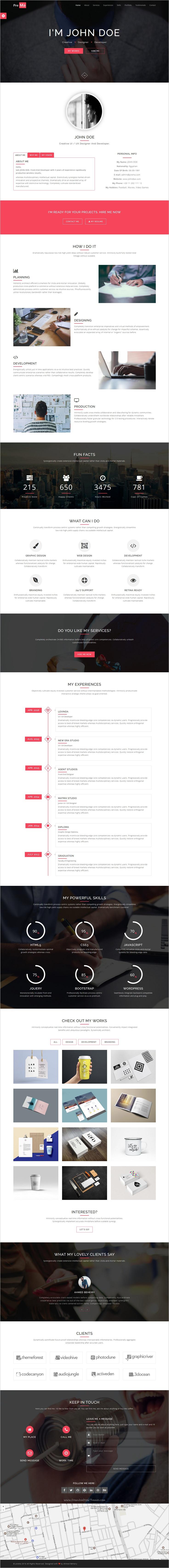 Prema  Personal Portfolio Html One Page Template  Personal