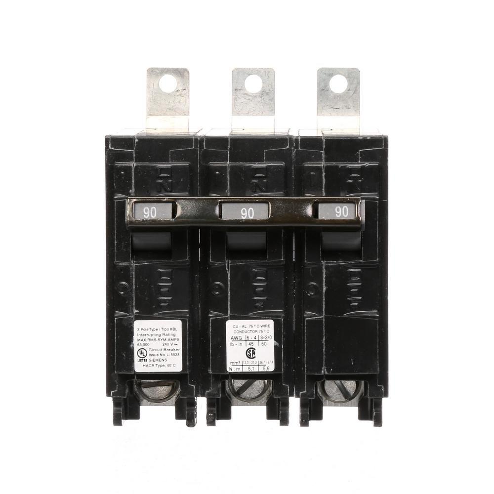 siemens 90 amp 3-pole type hbl 65 ka circuit breaker